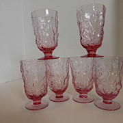Vintage Seneca Glass Heather Driftwood Goblets Set Of 6