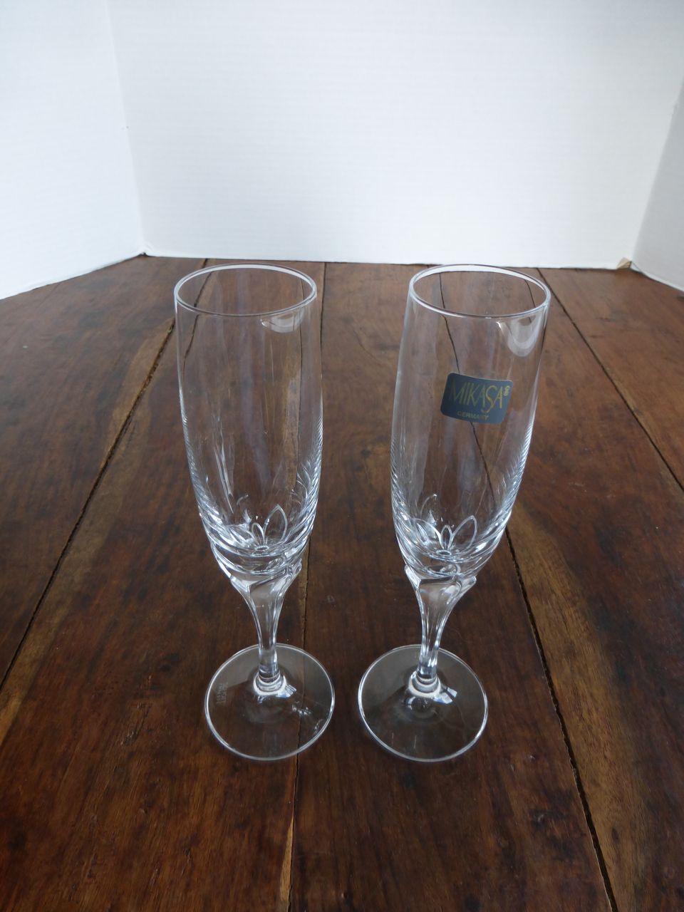 Vintage Mikasa Schott Zwiesel Crystal Petal Stem Champagne Flutes Pair From Historique On Ruby Lane