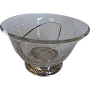 Vintage Amston Sterling Silver Cut Crystal Divided Condiment Dish