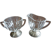 Laben Sterling Silver Based Crystal Sugar and Creamer Set