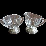 Laben Sterling Silver Based Crystal Sugar and Creamer Set