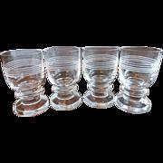 Thomas Cut Crystal Cordials Liqueur Shot Glasses Set of 4 Signed