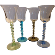 Vintage Italian Art Glass Colored Cordials Set of 4