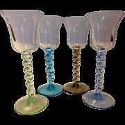 Vintage Italian Art Glass Colored Cordials Set of 4
