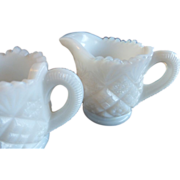 Westmoreland Milk Glass Child's Sugar & Creamer Diamond & Sunburst