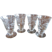 Vintage Clear Crystal Footed Tumbler Set (4) - 2 1/2 Oz