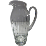 """Beautiful Block Clear Crystal Pitcher 11"""" Signed"""