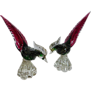 Stunning Large Venetian Murano Glass Pheasants PAIR