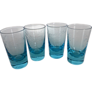 Vintage Aqua Blue Etched Crystal Cordial or Shot Glasses Set of 4