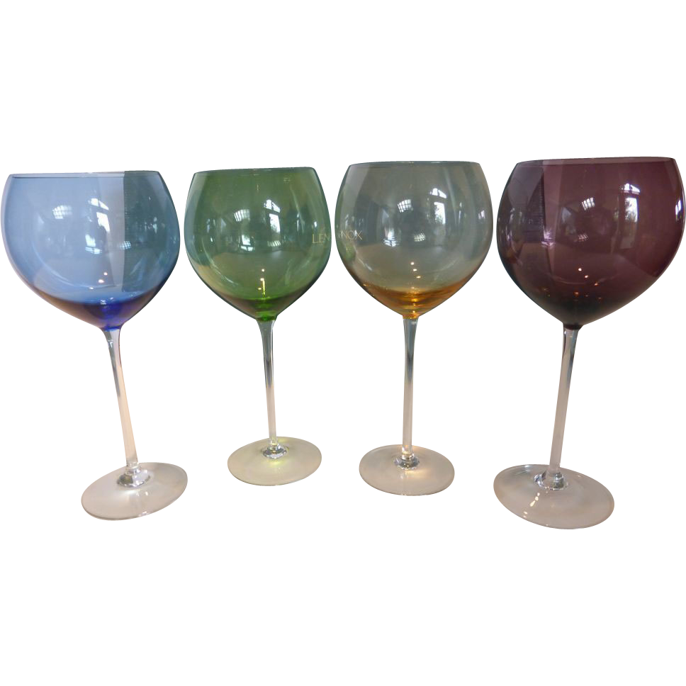 Vintage Lenox Colored Gems Balloon Wine Goblets In Box