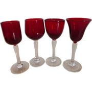 Ruby Red and Clear Crystal Cordials Set of 4 Italy