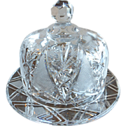 American Brilliant Cut Crystal Round Covered Butter Cheese Dish
