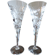 Waterford Crystal Champagne Flutes Millennium Series HAPPINESS Pattern Pair