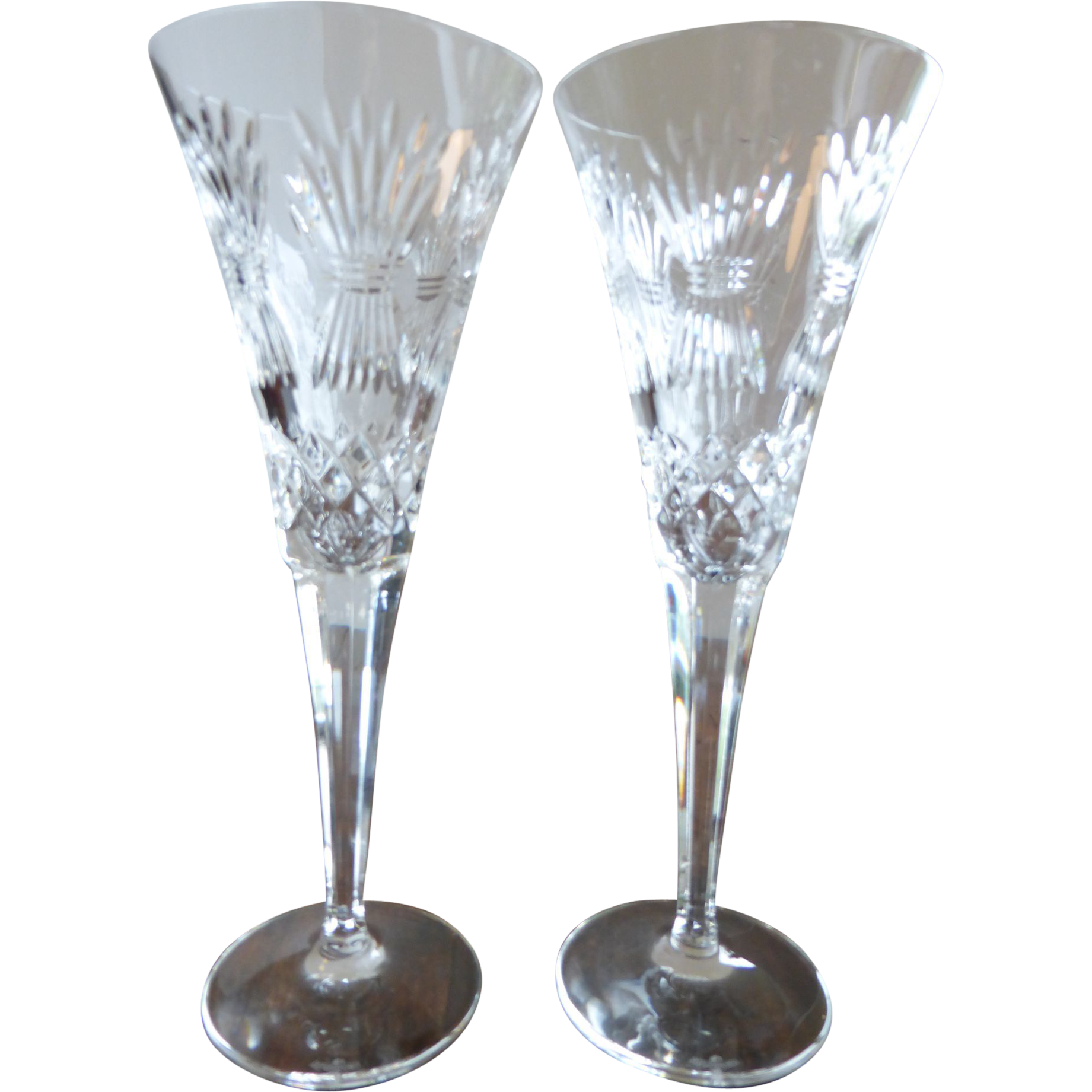 Waterford crystal champagne flutes millennium series happiness pattern from historique on ruby lane - Wedgwood crystal wine glasses ...