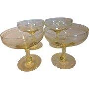 Yellow Topaz Modern Cut Crystal Cocktail or Champagne Goblets Set of 4