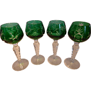 AJKA Emerald Green Cut to Clear Marsala Cordial Glasses Set of 4