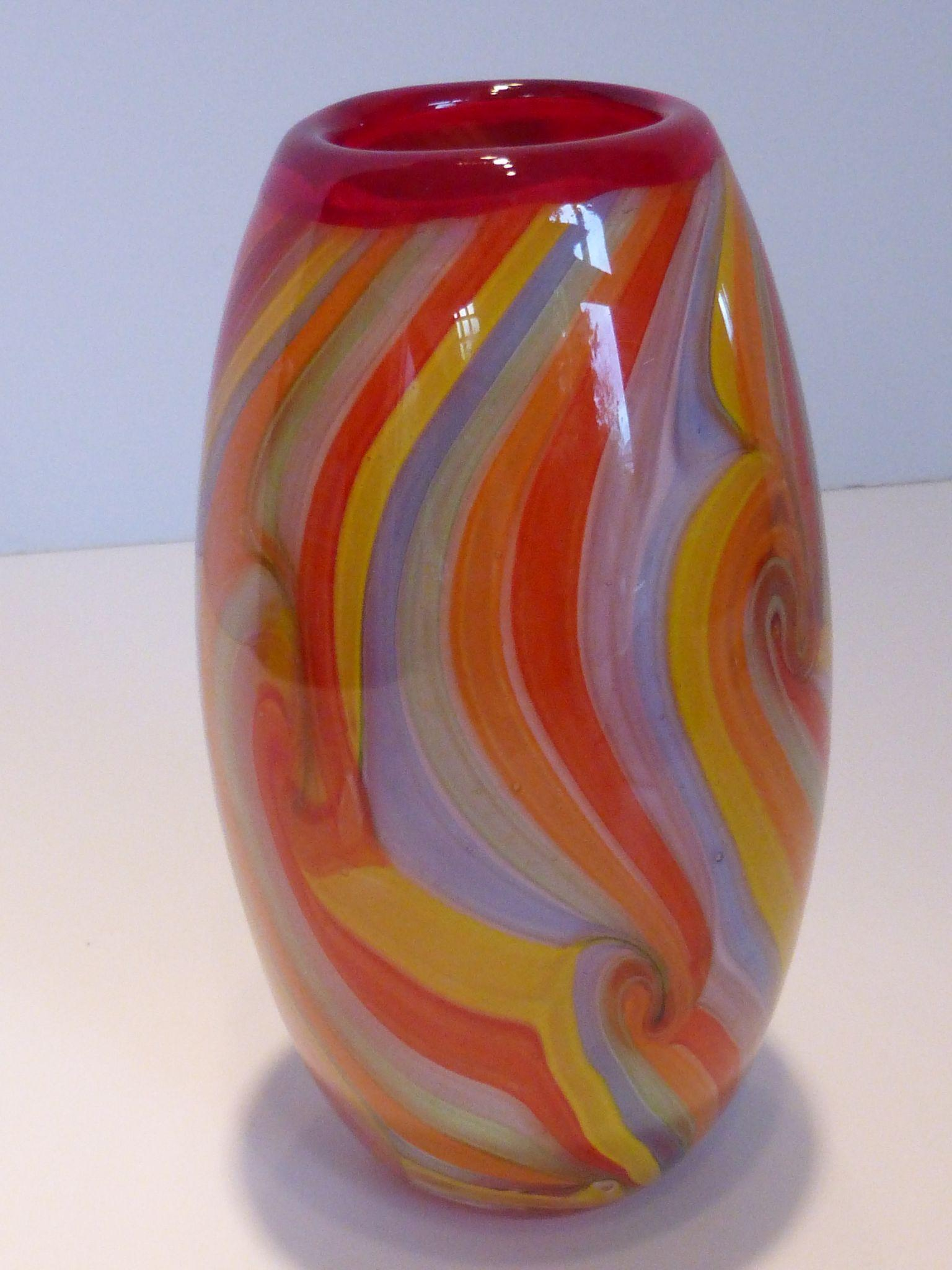 Hand Blown Venetian Art Glass Vase Cased Multi Color