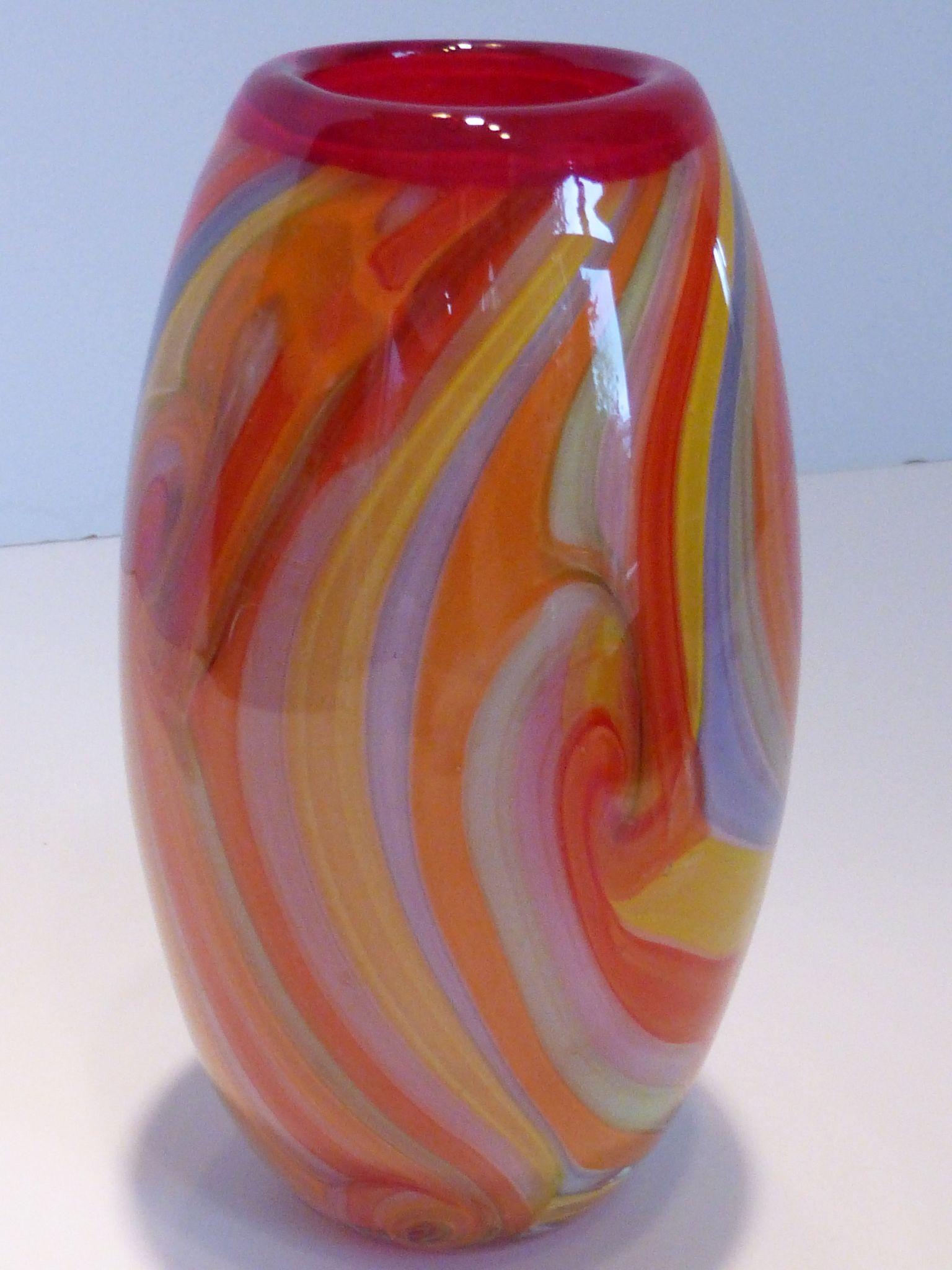 Hand Blown Venetian Art Glass Vase Cased Multi Color