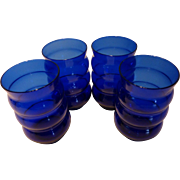 "Louie Glass Co. Cobalt Blue ""Harpo"" Ribbed Tumbler Set of 4"
