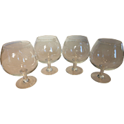 Vintage Crystal Brandy Snifters Etched Wheat Pattern Set of 4
