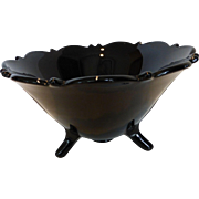 LE Smith Large Black Amethyst Glass 'Mt Pleasant' 3-Footed Bowl