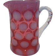 Fenton Cranberry Dot Optic or Coin Spot Small Syrup Jug / Creamer