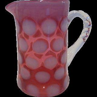 Fenton Cranberry Dot Optic or Coin Spot Small Syrup Jug / Creamer