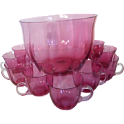 Antique Cranberry Glass Punch Bowl Set w 9 Cups RARE