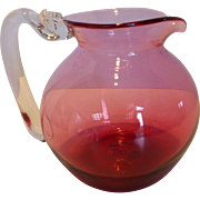 Gerald Patterson Blown Cranberry Glass Water Pitcher