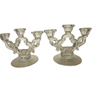 Cambridge Glass Keyhole Crystal Three-Light Candle Holder