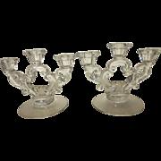 Cambridge Glass Keyhole Crystal Three-Light Candle Holder