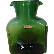 Blenko Mid-Century Green Glass Double Spout Water Pitcher Jug Foil Hand Sticker