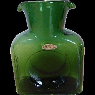 Blenko Mid-Century Green Glass Double Spout Water Pitcher Jug Foil Hand Sticker