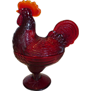 Standing Rooster Covered Dish in Ruby Red Glass