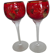Vintage Bohemian Moser Crystal Czech Moser Ruby Red Wine Goblets Etched & Gilded - Twisted Stems Pair
