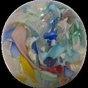 Mid-Century Murano Venetian Latticino Ribbon Twist Art Glass  Paperweight
