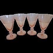 Vintage 1930's Elegant Pink Glass Etched Wine Glasses