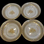 Exquisite Vintage Gold Etched Crystal Saucer Dishes Monogrammed France Set of 4