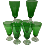 Anchor Hocking Forest Green Inspiration Burple 12 oz Ice Tea Stems Set of 8