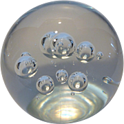 Mid-Century Crystal Orb Paperweight Clear w Controlled Bubbles Made in Sweden
