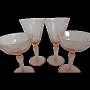 Pink Depression Glass Etched Flower Pattern Stemware Set of 4