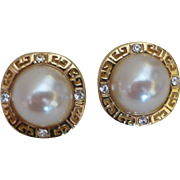 Vintage Signed Givenchy Faux Mabe Pearl and Rhinestone Earrings