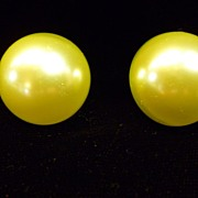 Vintage Coro Chartreuse Faux Pearl Button Earrings