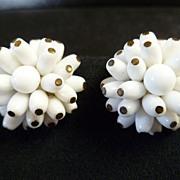 Vintage West Germany Milk Glass Cluster Earrings