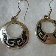 Vintage Mexico Taxco Sterling & Abalone Hoop Earrings