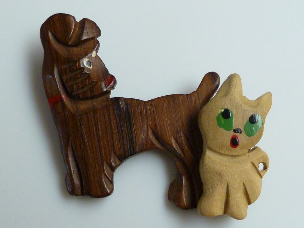 Dog And Cat Fine Carved Sign