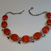 Vintage Thermoset Lucite Watermelon Red Link Necklace