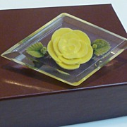 Vintage Lucite Encased Rose Brooch Pin