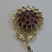 Vintage Signed J.J. (Jonette) Purple Rhinestone Flower Brooch