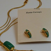 Rare Hattie Carnegie Demi Parure Slide Bolo Lariat Necklace and Earrings